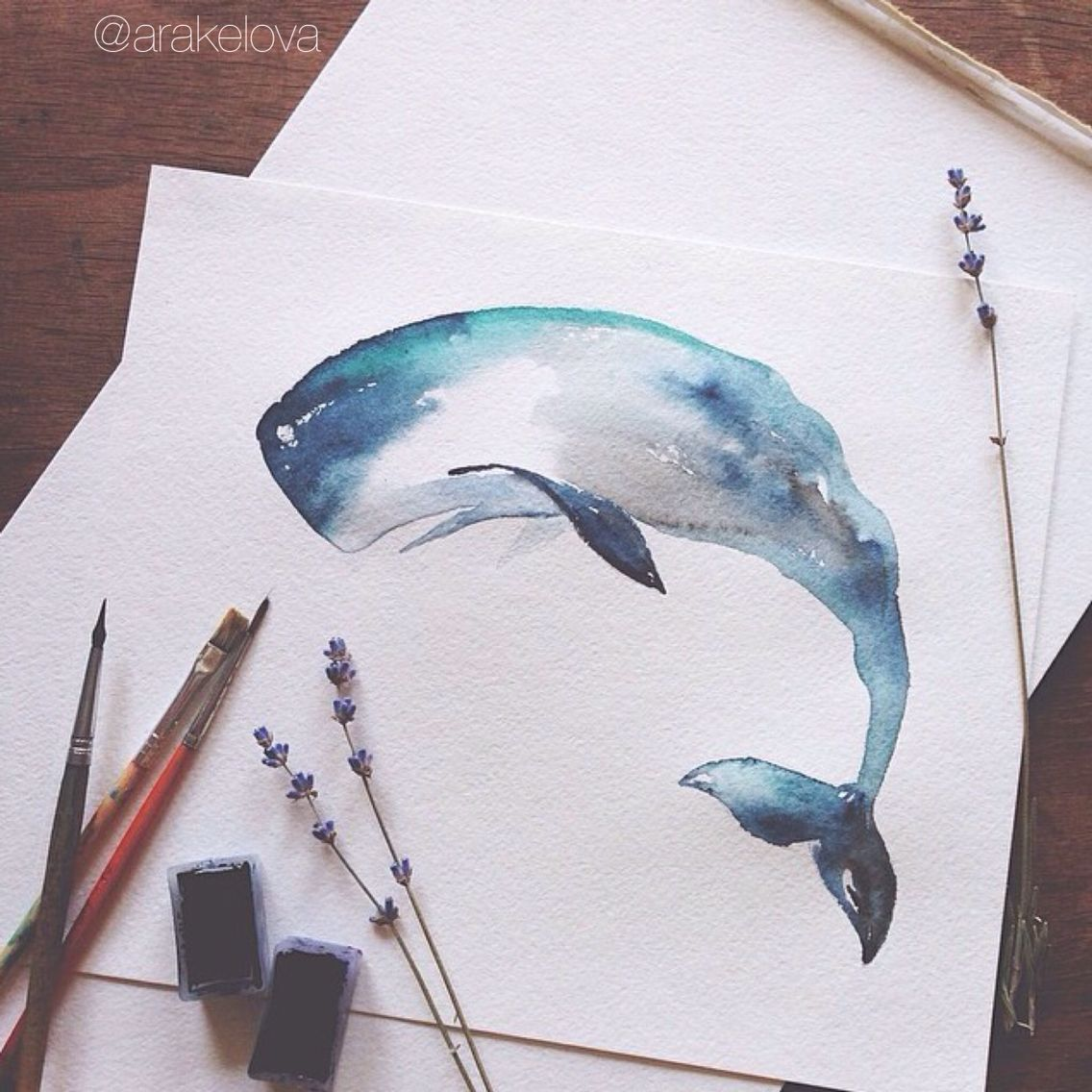 Whale + Watercolors