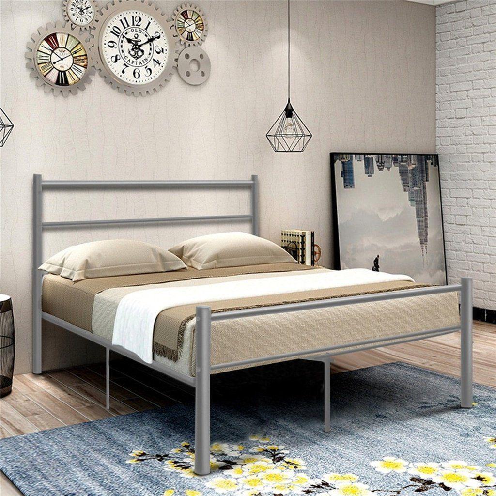 Black Silver Full Size Metal Bed Frame Platform Headboard 10
