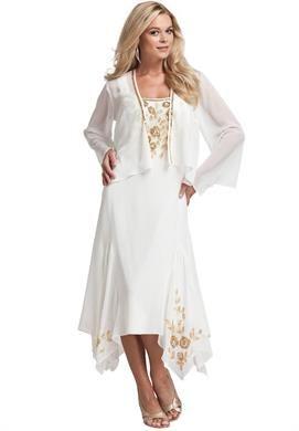 Beaded Hanky Hem Jacket Dress | Plus Size Special Occasion ...