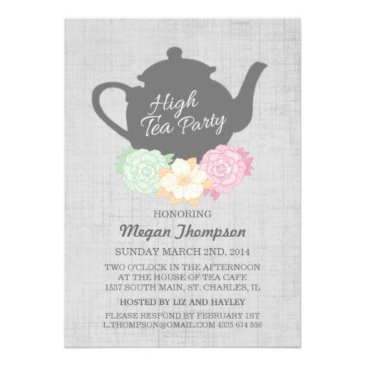 Teapot High Tea Invitation High tea invitations High tea and Teapot