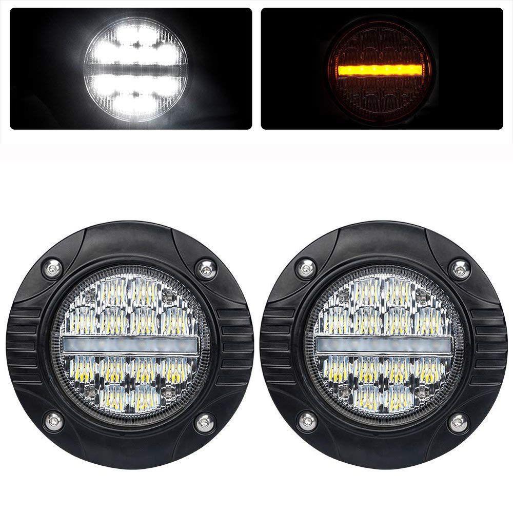 2x 48w 4inch Flush Mount Round Cree Led Work Light Gmc Fog Pods Driving Lamp 4wd Led Ledlight Offroad Carlight Ledlightbar Vehicles Drivingfog