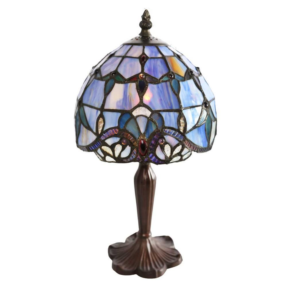 River Of Goods 14 In Blue Indoor Table Lamp With Stained Glass Allistar Shade 8197 With Images Bronze Table Lamp Stained Glass Table Lamps Table Lamp