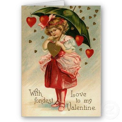 "Vintage Antique Repro Valentines Girl Umbrella Heart Print on Canvas Board 5x7/"""