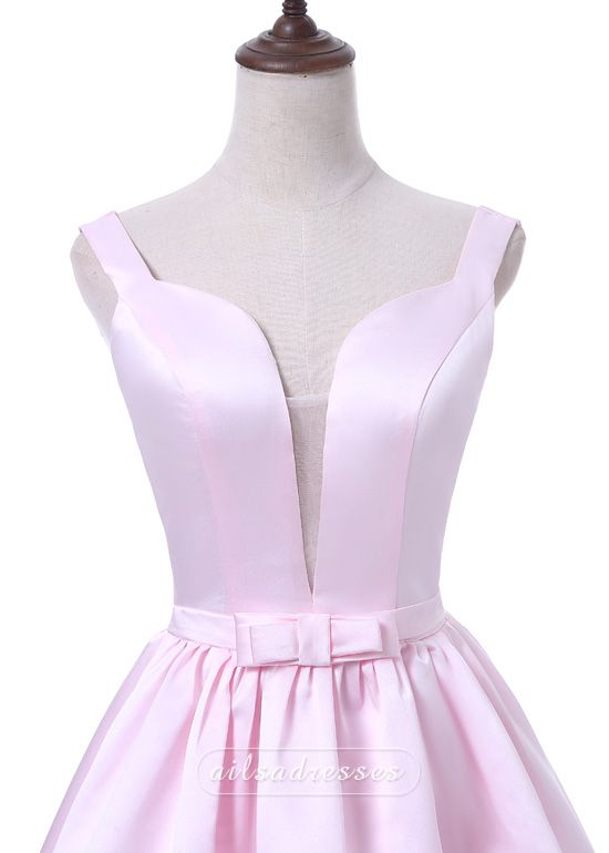 Sexy Backless V Neck A-line Pink Short Stain 2017 Homecoming Dress With Bow [A-001] - $99.00 : Prom Dresses 2017,Wedding Dresses & Gowns On Sale,Buy Homecoming Dresses From Ailsadresses.com