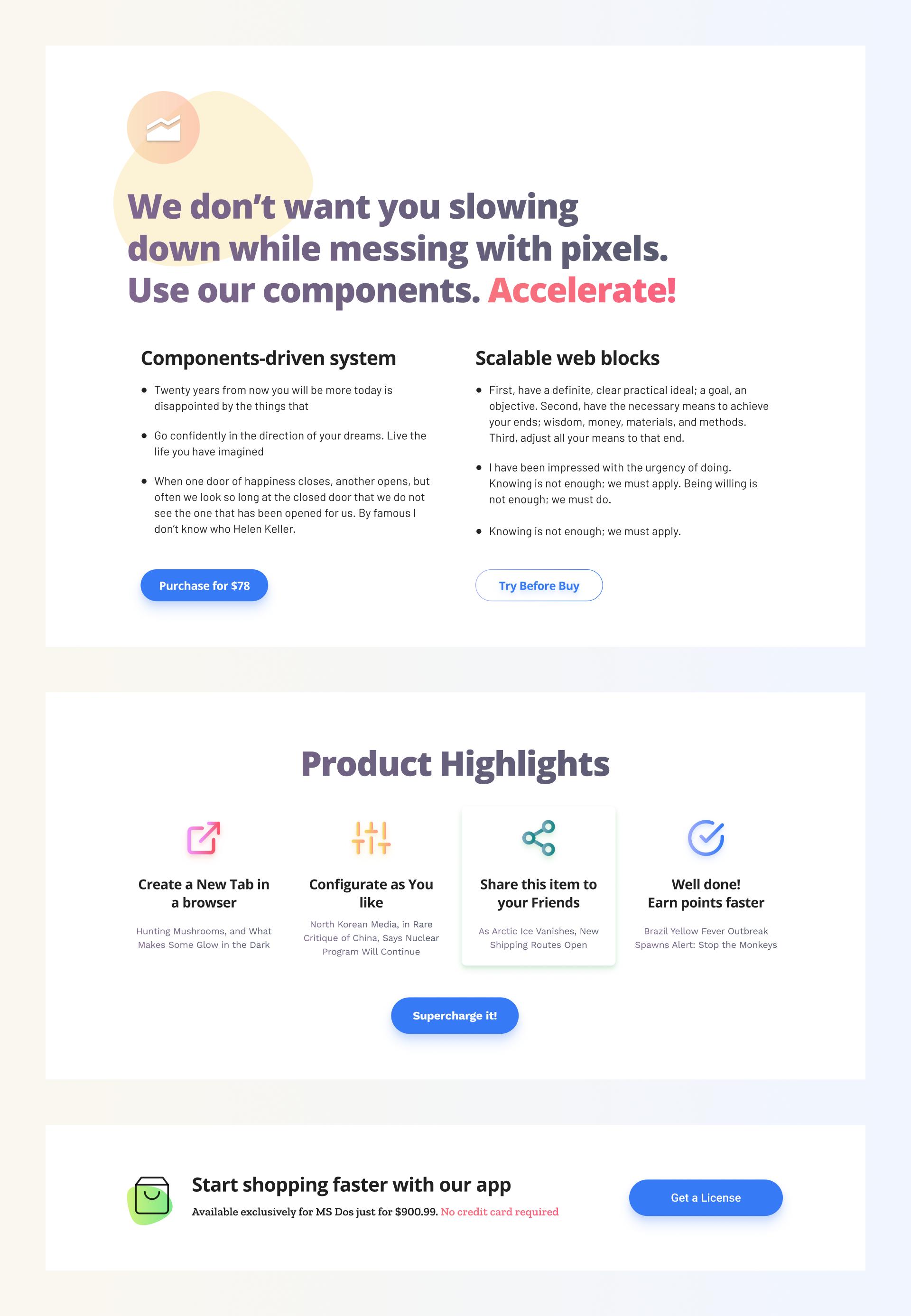 Web Design Kit Cta Blocks Website Template Landing Page Inspiration Web Design
