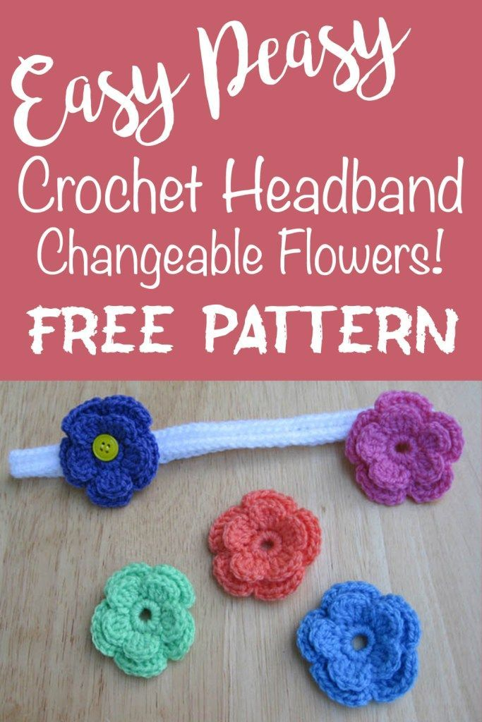 Changeable Crochet Flower Headband | Pinterest | gehäkelte Blumen ...