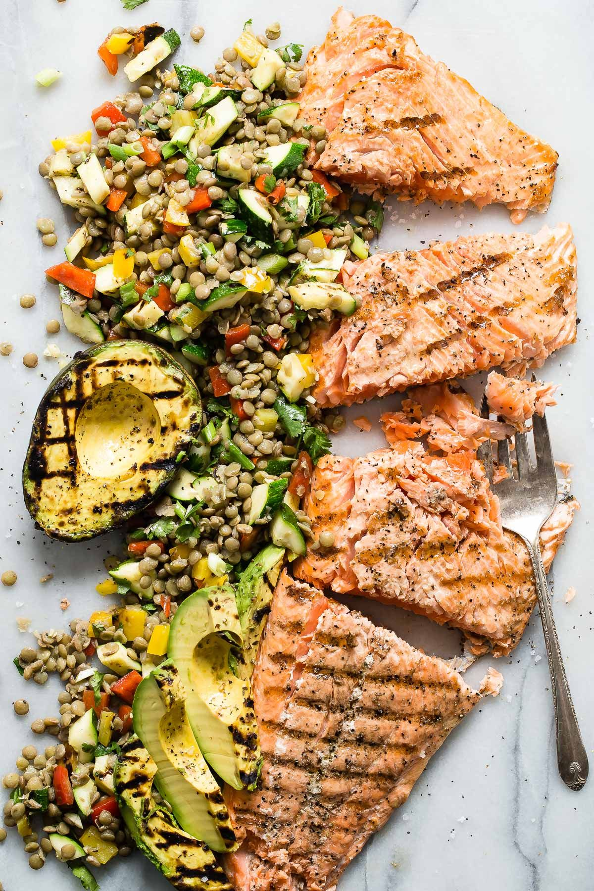 Grilled King Salmon With Lentil Salad Recipe Recipes Grilling