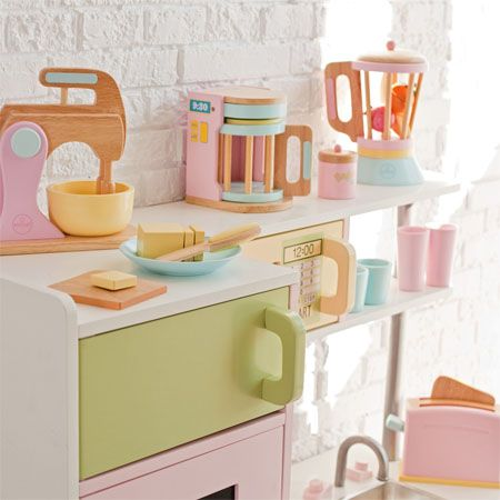 complete your kid's imaginary kitchen with wooden kidkraft pastel