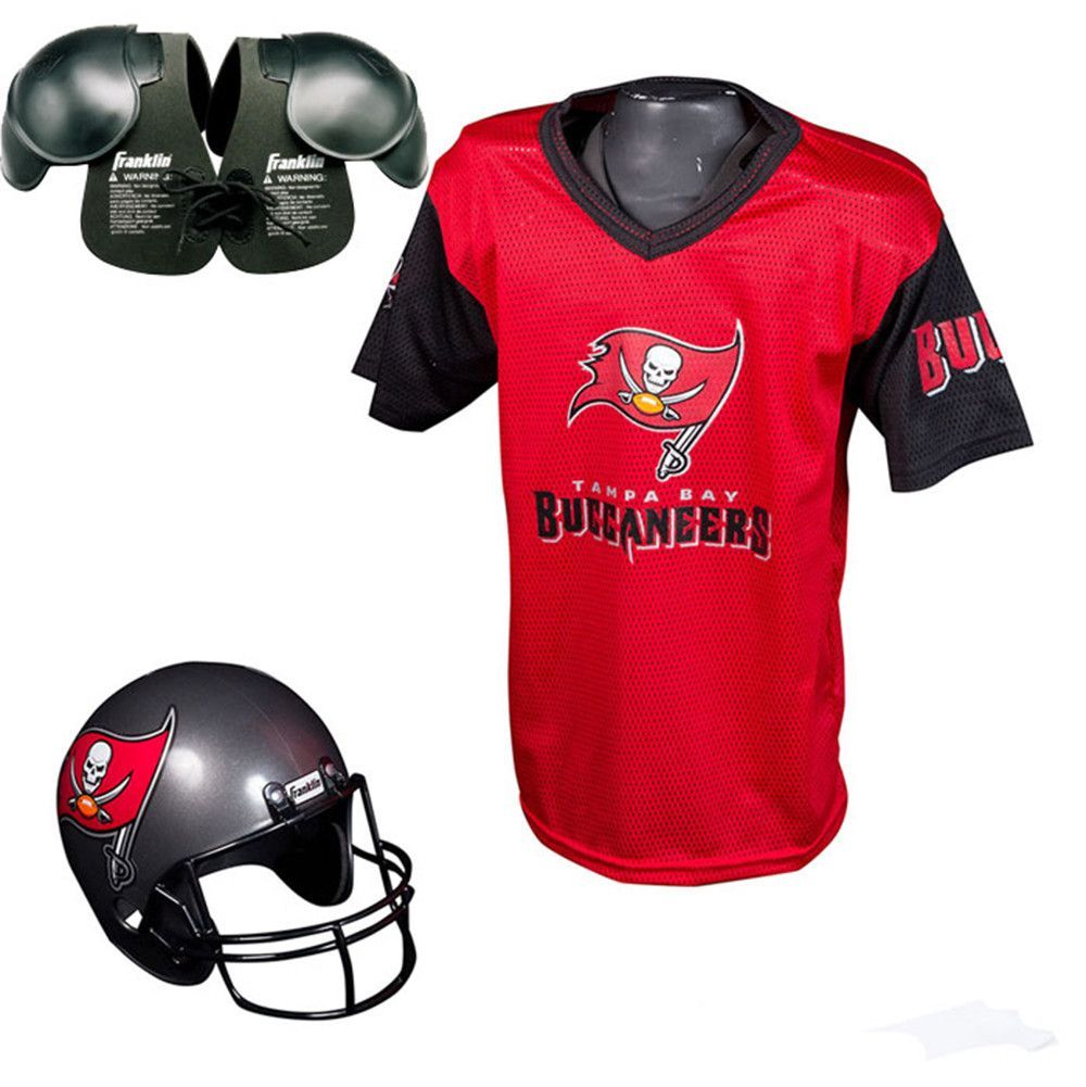 Tampa bay buccaneers youth helmet and jersey set with shoulder pads