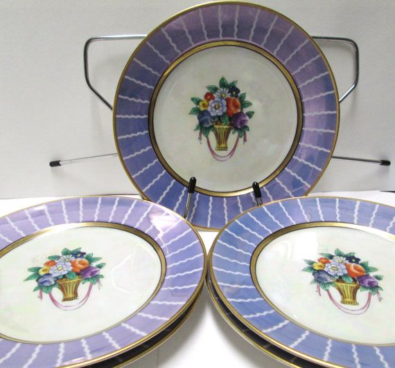 """Noritake Purple/Blue Salad Plates, 7¼"""". Set of 5. No pattern name known for these. Must've been a special promo or something. Gorgeous color. $49.00/set of 5 at VintageCarolina on etsy"""