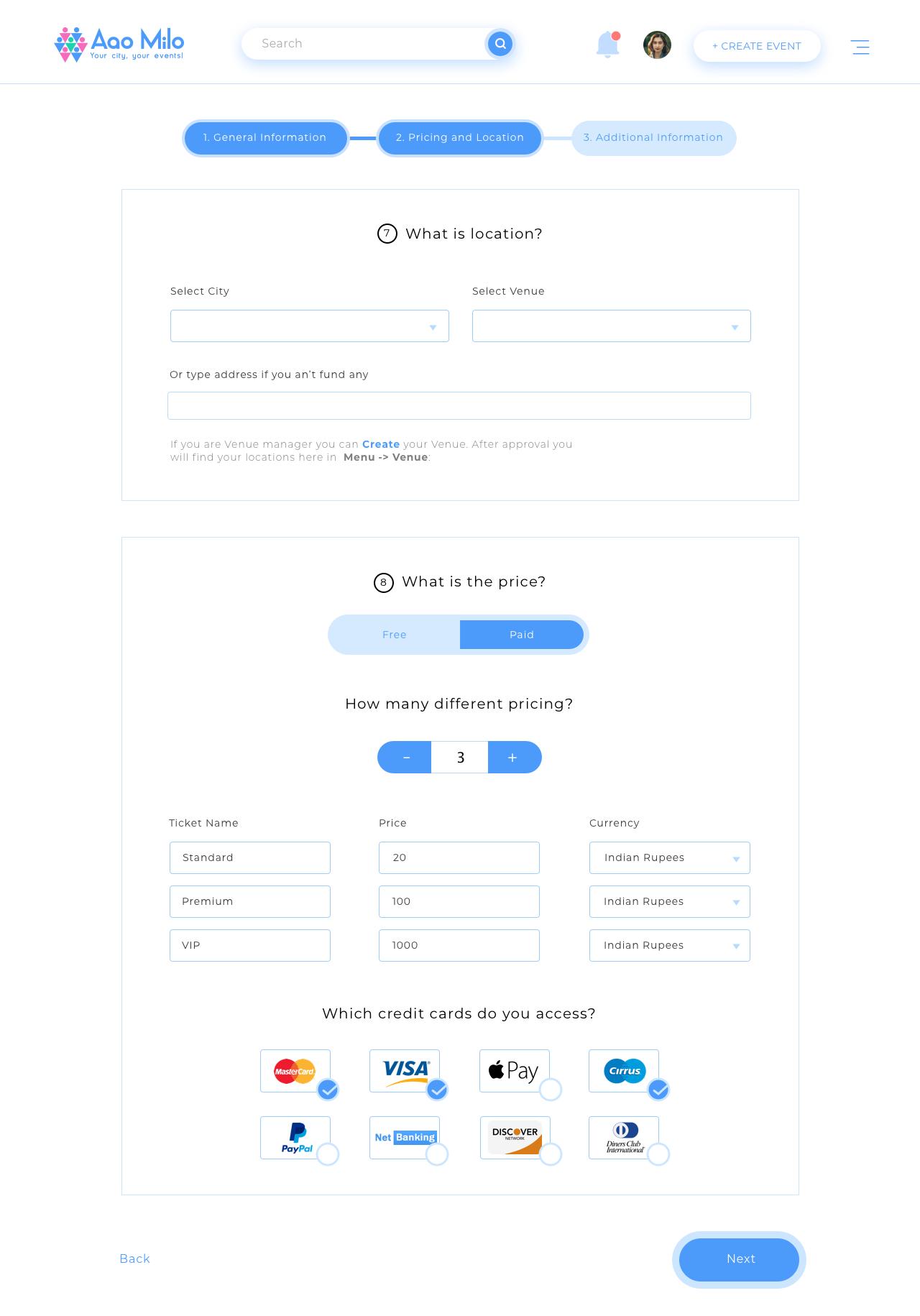 Create Event Step 2 Web App Design Web Layout Design Web Design