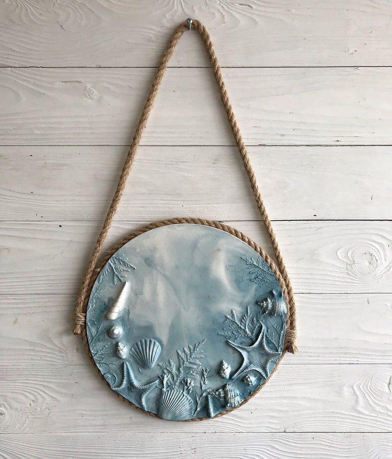 Escultura de pared marina azul con soporte de yute ...