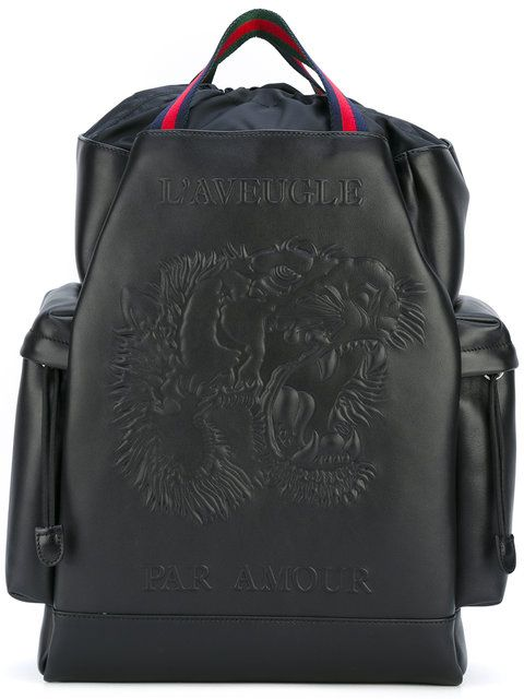 55b30bcee506 GUCCI L aveugle par amour backpack.  gucci  bags  leather  nylon  backpacks