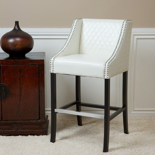 Milano 28 Inch Ivory Quilted Bonded Leather Barstool By Christopher Knight Home