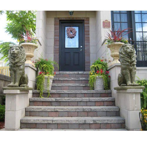36 Guardian Entryway Lions Statues Solid Cast Stone Set Of 2