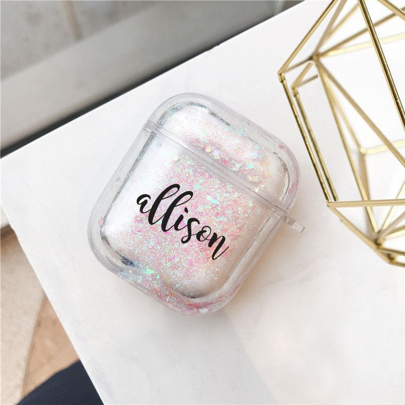 Air pod Case Customized Name Personalized Airpods Pink Glitter Case Personalized Gift Glitter Airpod case Cute Air pod case cover Bling case