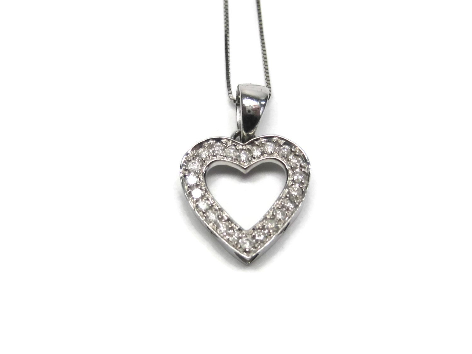 Vintage 14K White Gold .25 Carat Diamond Heart Pendant Necklace - pinned by pin4etsy.com