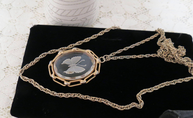 Vintage Carve Copper Chain Necklace Diamante Pendant Dangle Earrings Jewelry Set