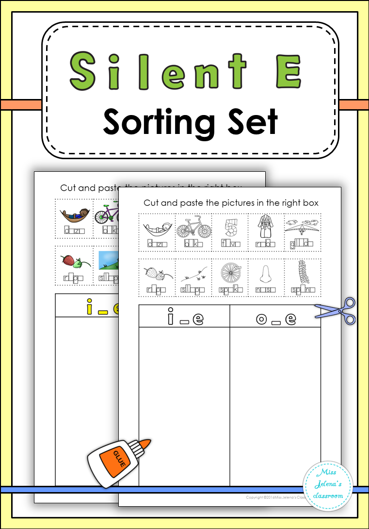 worksheet Ff Worksheets Phonics silent e sorting set phonics activities and literacy set