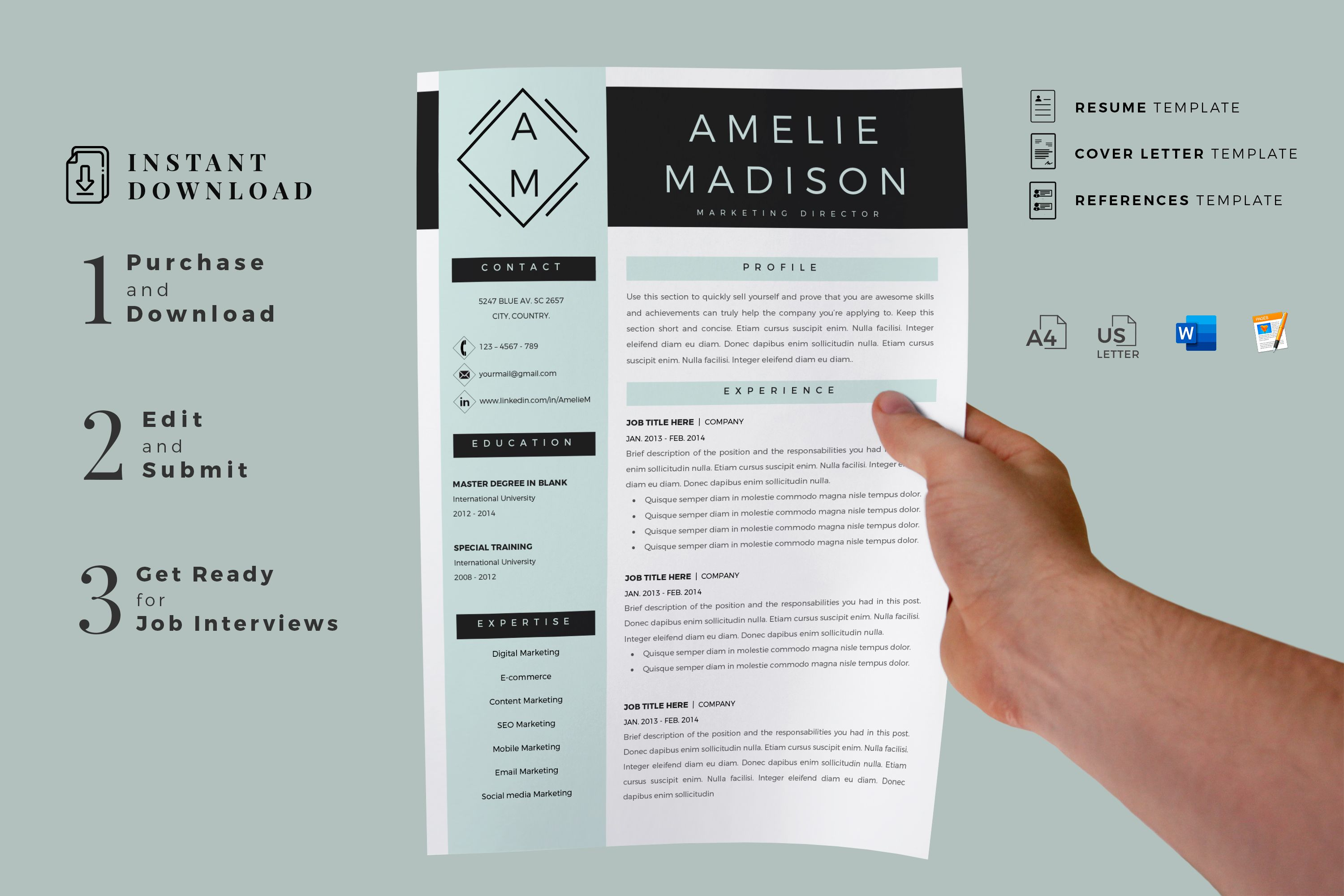Creative Resume Templates For Ms Word And Mac Pages Professional Resume Templates And Matching Cove Resume Template Cover Letter Format Resume Design Template