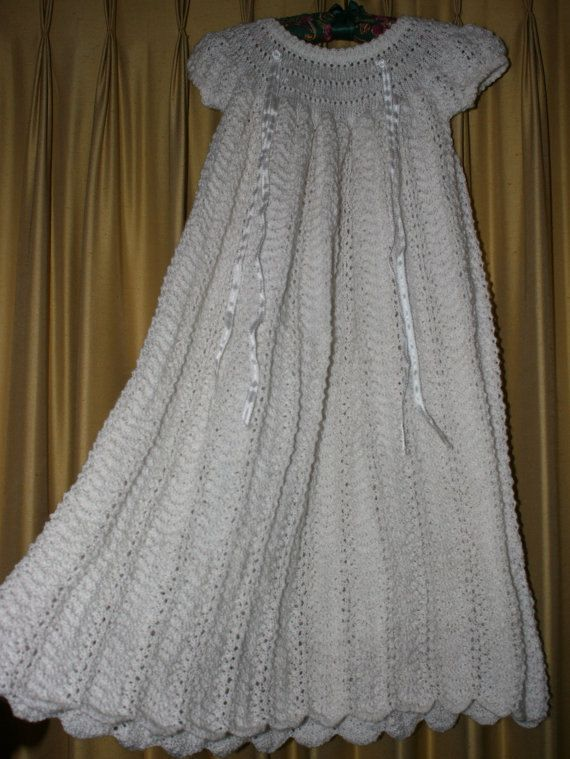 Vintage Style 1950s Dutch Knit Christening Gown With Hat One Of A Kind