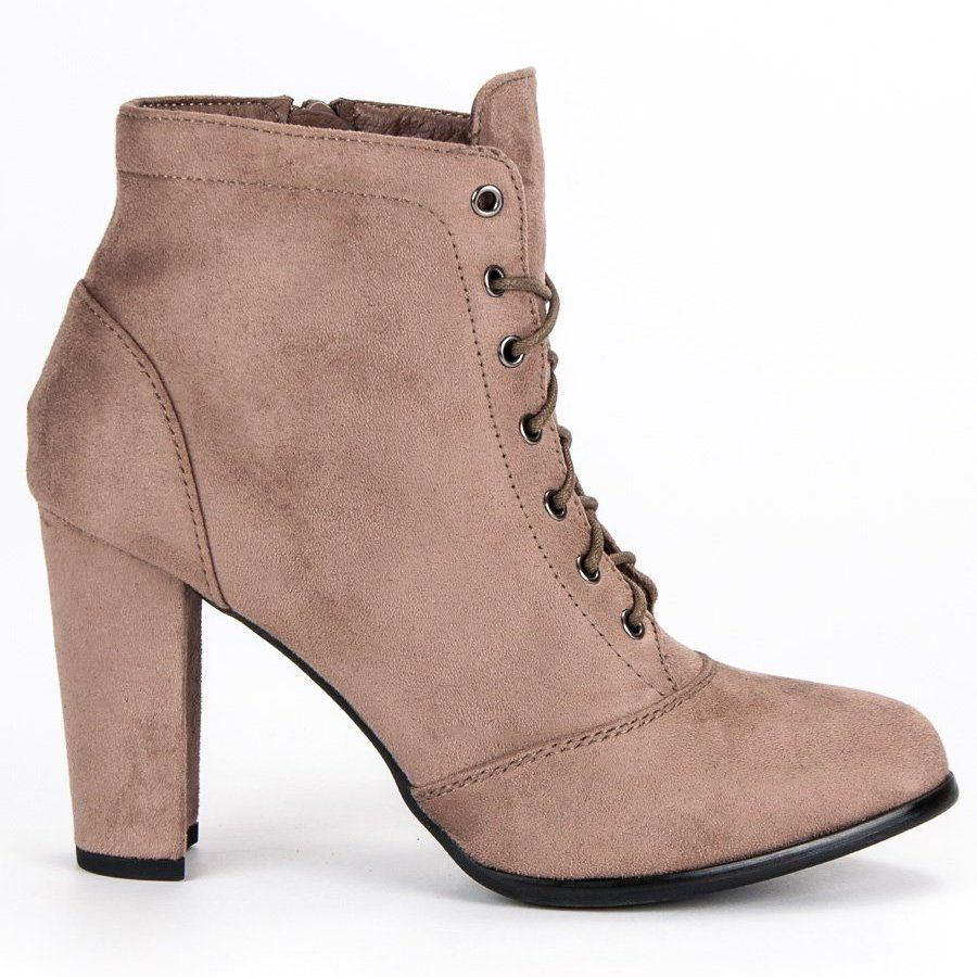 Juliet Wiazane Botki Na Slupku Brazowe Shoes Boots Ankle Boot