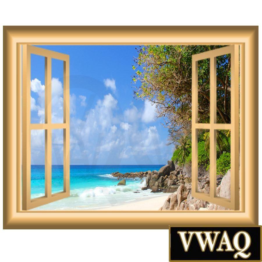 Vwaq Coastline Beach Scene Peel And Stick Window Frame Wall Decal