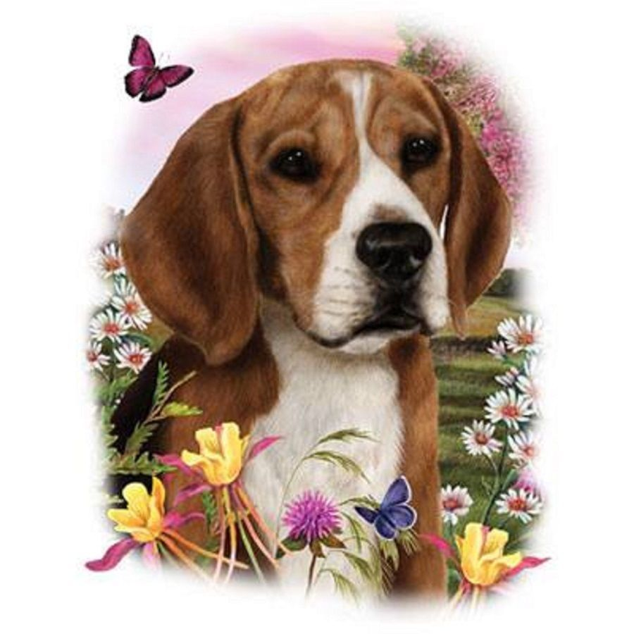 Details About Beagle With Flowers On One 18x22 Fabric Panel To