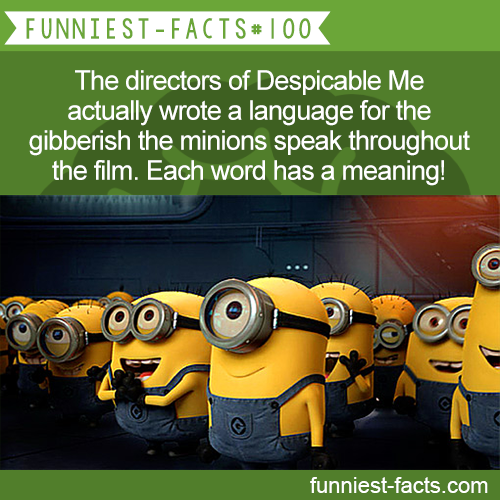 The directors of Despicable Me actually wrote a language for the gibberish the minions speak throughout the film. Each word has a meaning! MORE OF FUNNIEST-FACTS are coming here funny, interesting and weird facts only http://funniest-facts.com/post/96317524558/funny-interesting-and-weird-facts-only