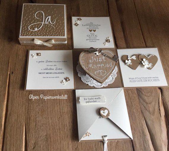 Money Gift/Explosion box/greeting card for wedding wood Heart #moneyspell