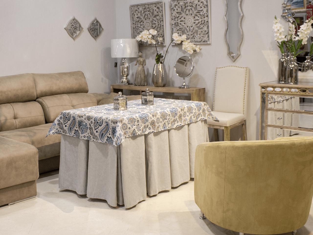 Mesa camilla plata con faldones mesas camilla y auxiliares side tables and coffe tables - Mesa camilla moderna ...