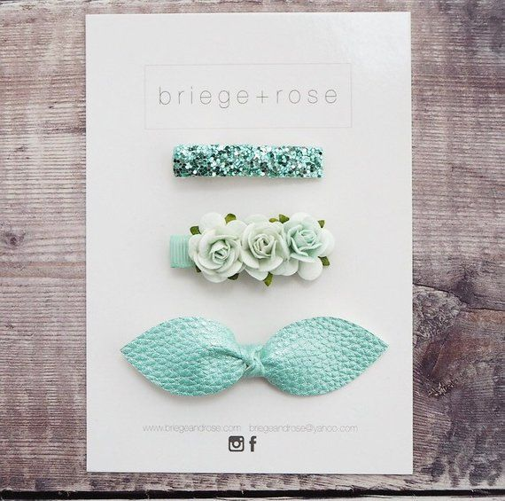 Mint hair bows, hair bow #babyhairaccessories