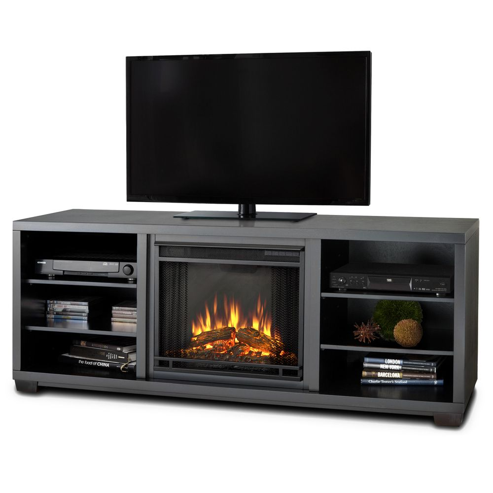 Real Flame Marco Black Mantel Electric Fireplace   Overstock.com ...