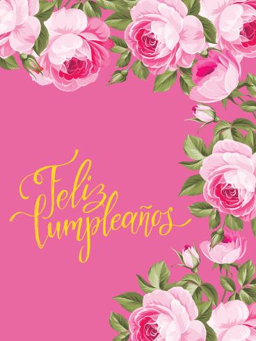 Beautiful Pink Rose Happy Birthday Card In Spanish