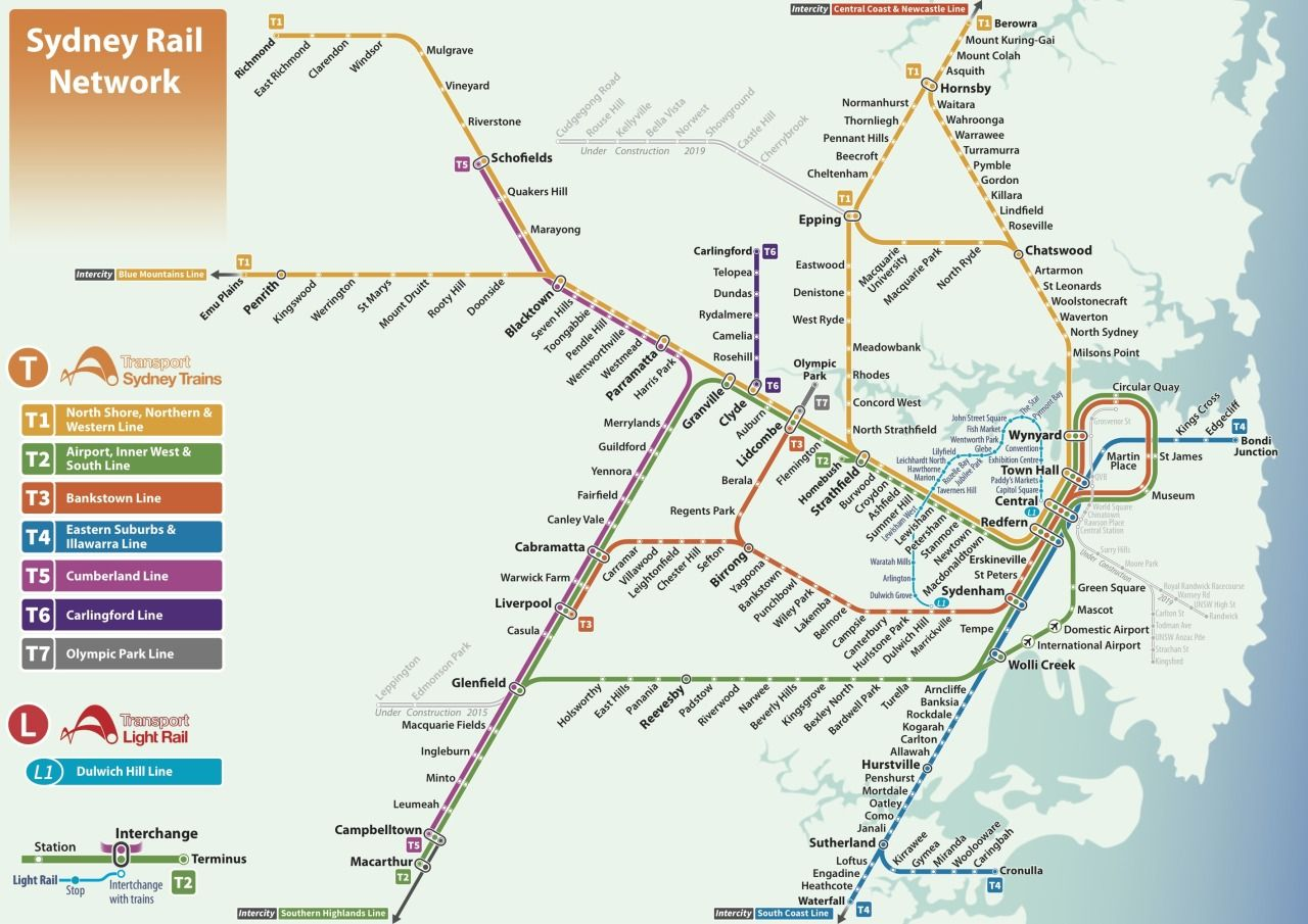 Unofficial Map: Sydney Rail Network (Trains and Light Rail ...