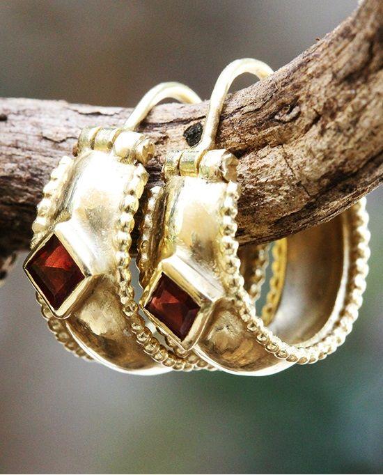 Gold Hoop Earrings Solid Gold Earrings Garnet Earrings Ethnic
