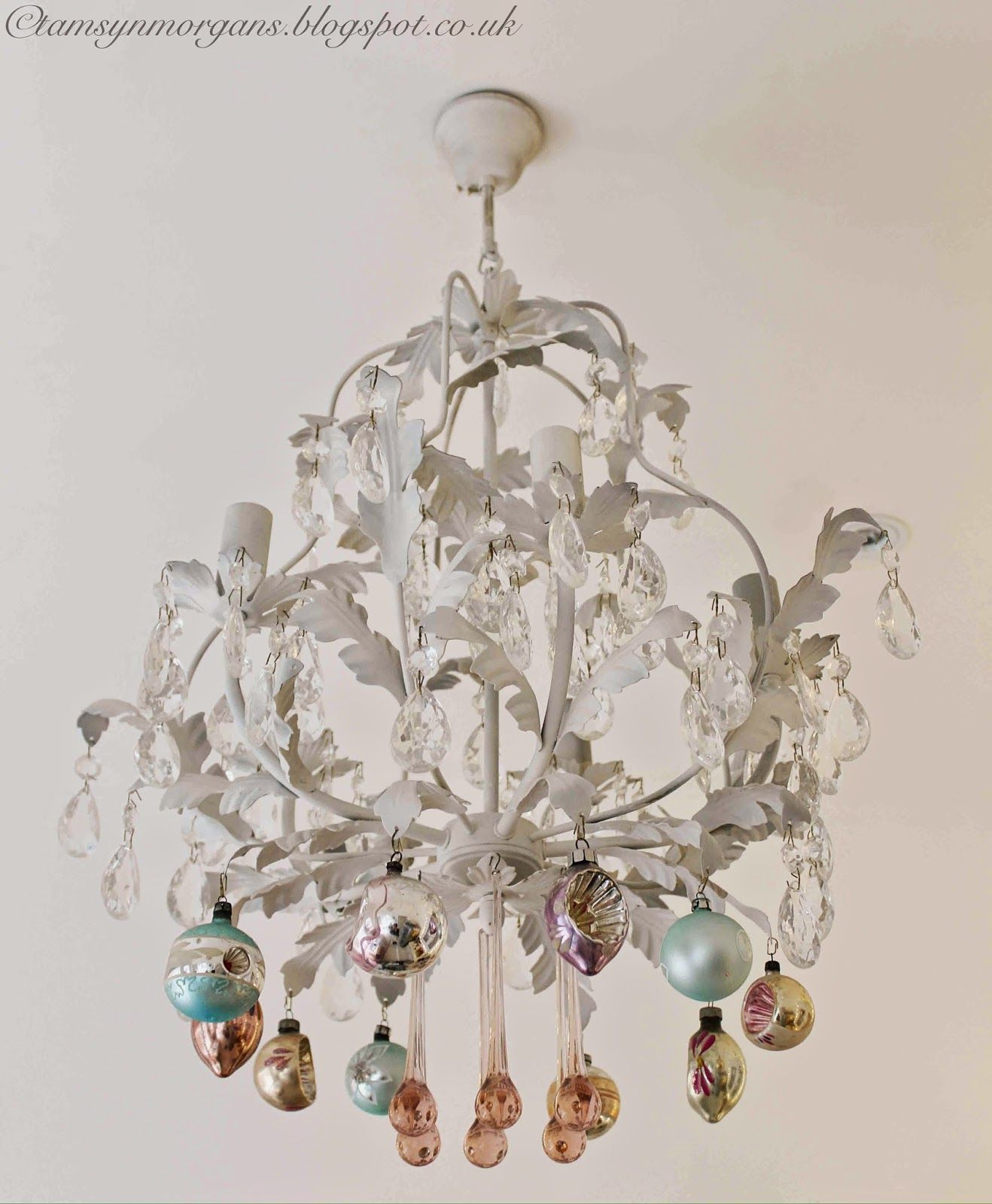Shabby Chic Upcycled Vintage Chandelier With Xmas Ornaments Crystal - Upcycled chandelier crystals