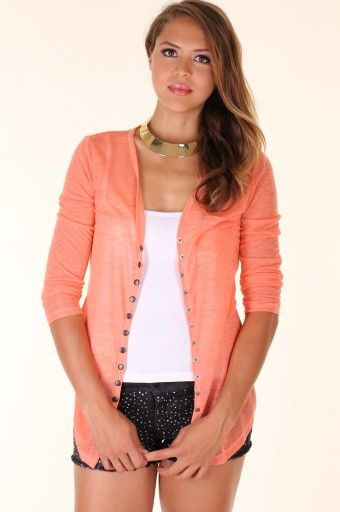NEON-ORANGE BUTTON DOWN COLORFUL CARDIGAN-Cardigans-women's ...