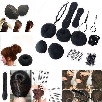 3Pcs magique éponge Clip Cheveux Styling Twist Outil mousse Donut Bun Curler Maker