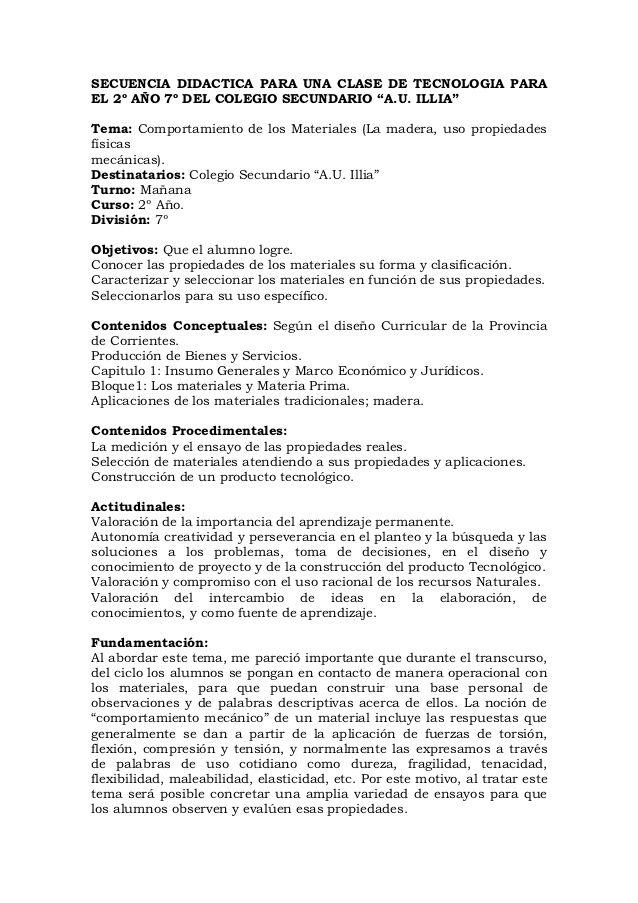 SECUENCIA DIDACTICA PARA UNA CLASE DE TECNOLOGIA PARAEL 2º AÑO 7º ...