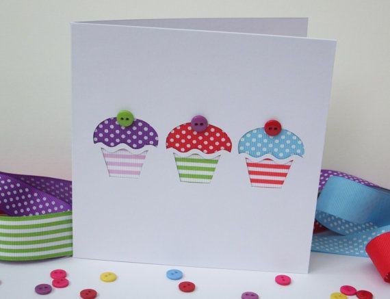 Birthday Card Cupcakes Birthday Card made with Ribbon and – Cupcake Birthday Cards