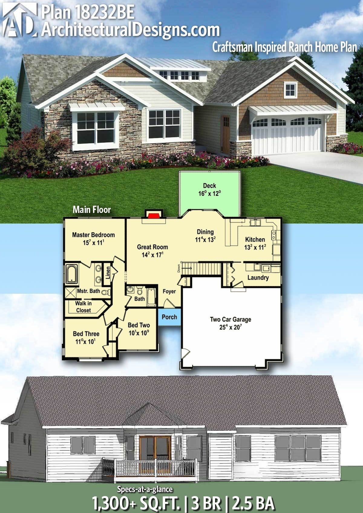 Plan 18232be Craftsman Inspired Ranch Home Plan House Plans