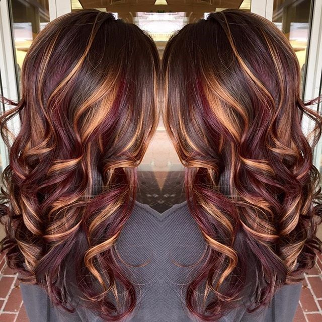 Hair Highlights Brunette Hair Color With Burnished Blonde