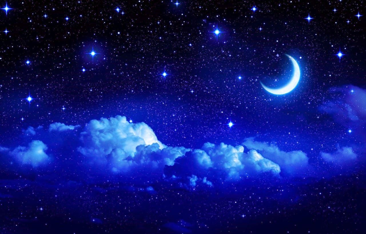 Moon Light And Stars Night Background With Trees Nature Art Images Sky Moon Star Sky Sky And Clouds