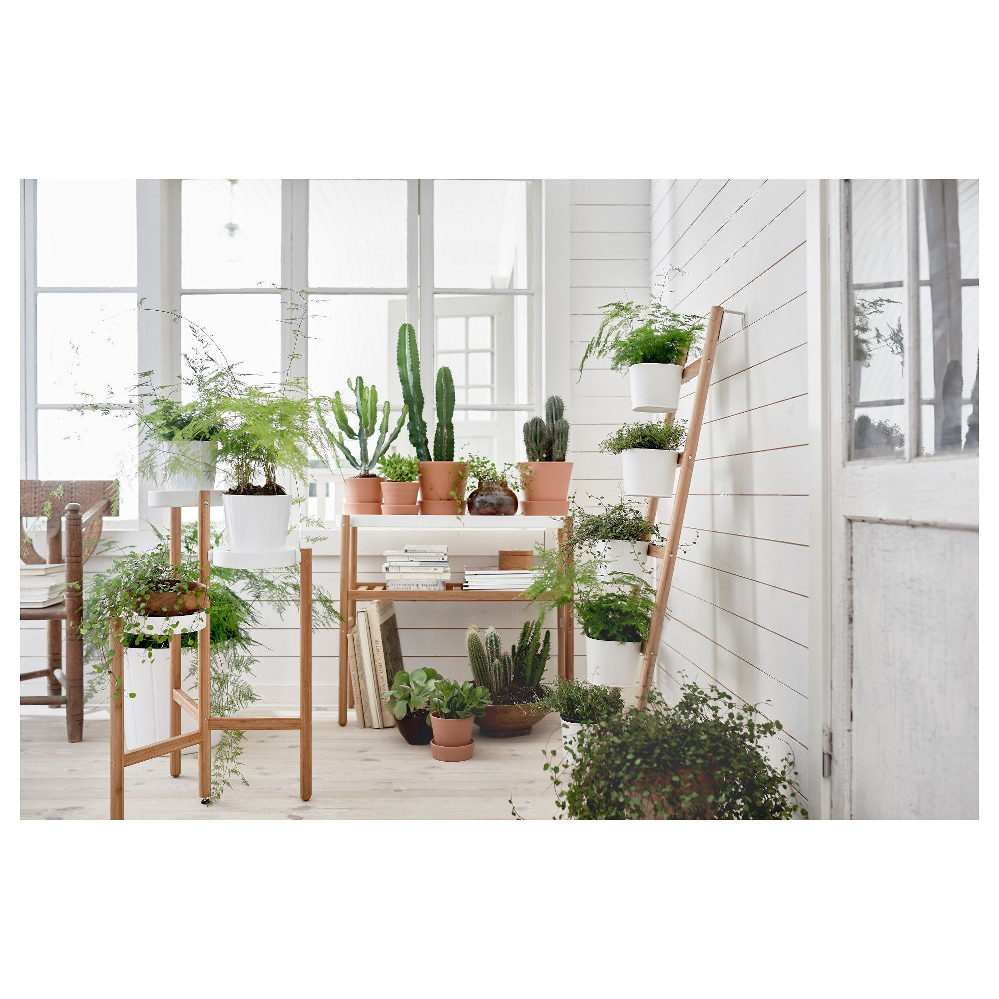 Ikea Satsumas Bamboo White Plant Stand With 5 Plant Pots 400 x 300