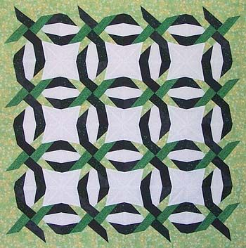 Woven Double Wedding Ring pattern paper piecing pattern from