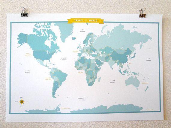 World Map Aqua A Scandinavian Modern Design Print X - World wall map kids
