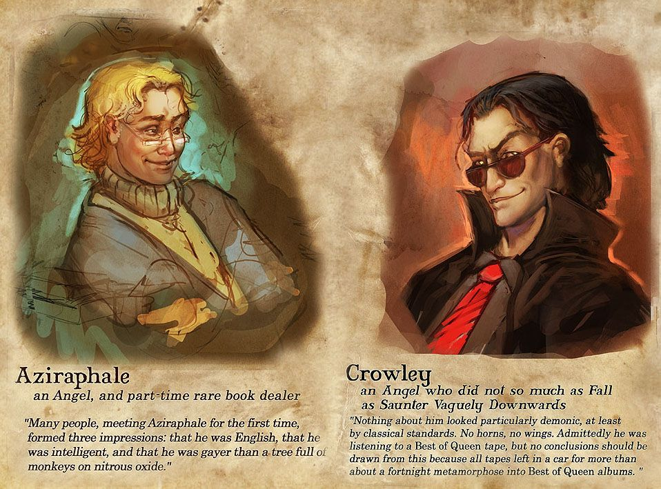 Julie Dillon's view on characters from Good Omens by Terry Pratchett