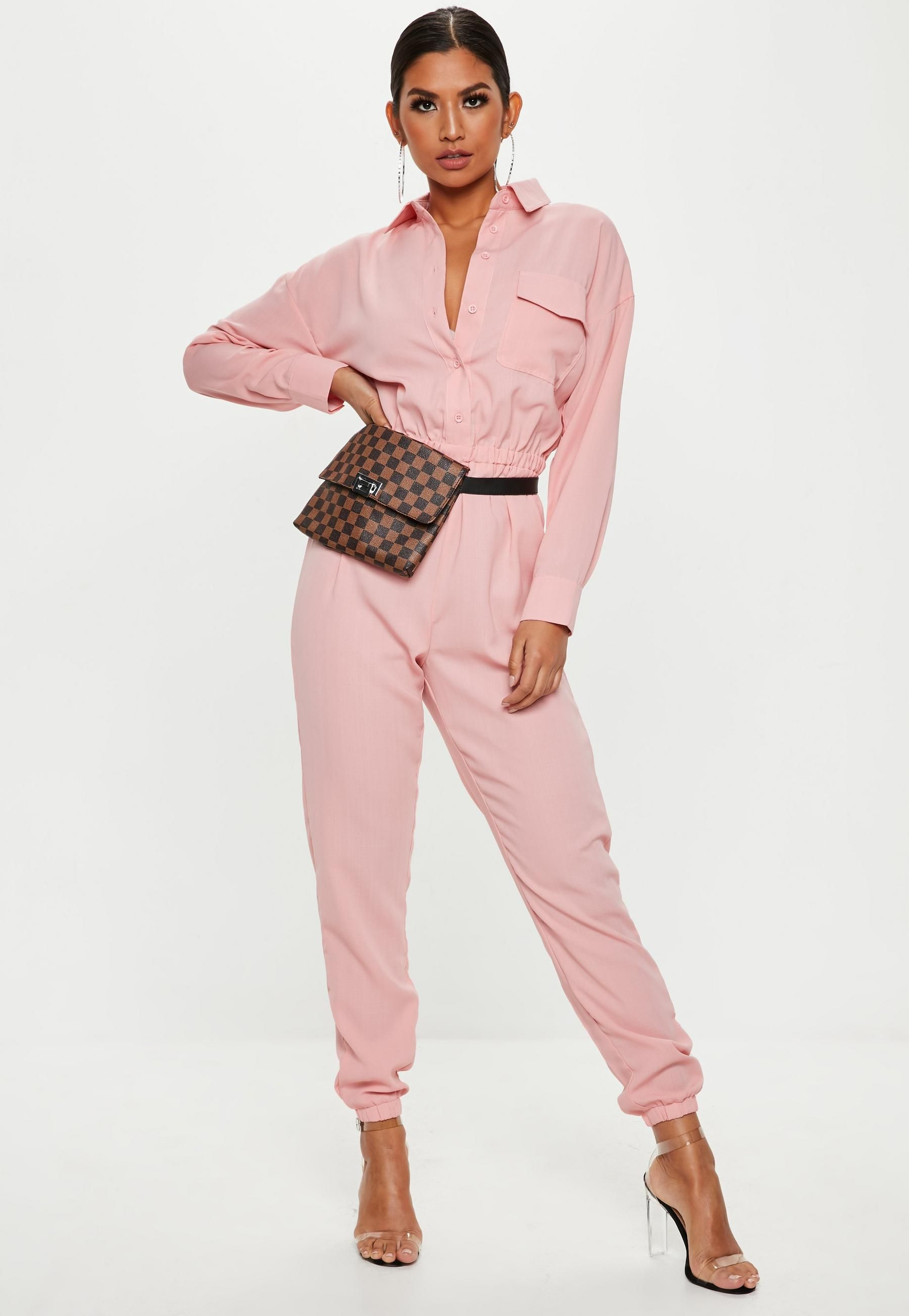 a70ca93790d Pink Utility Jumpsuit | Missguided | street style in 2019 | Jumpsuit ...