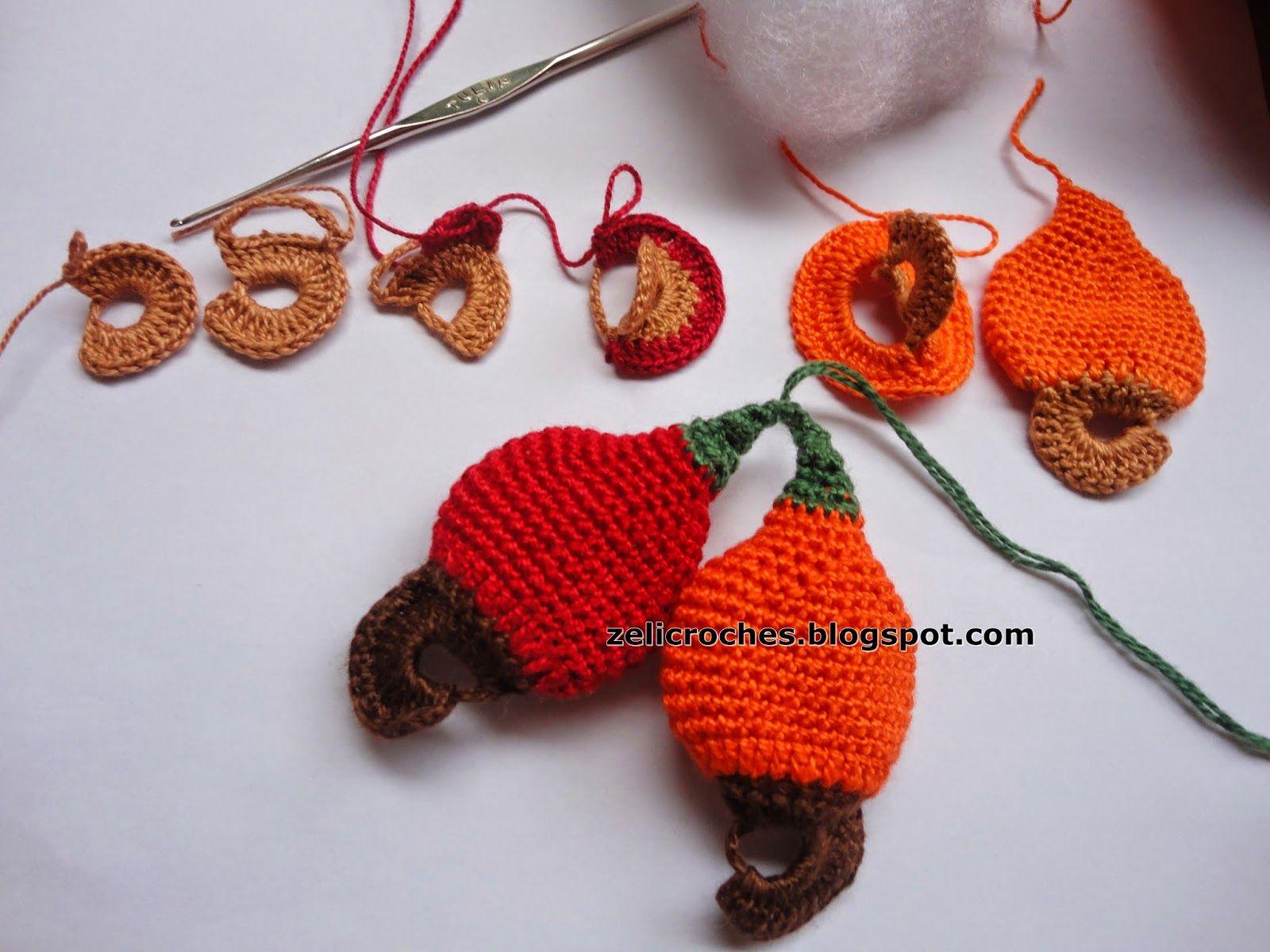 zelicroches: Receita para fazer caju em crochê   May secrets   Pinterest